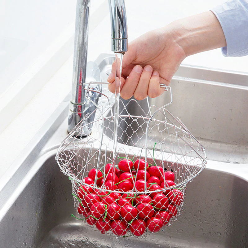 Foldable Frying Basket Fruit And Vegetable Strainer -Very handy kitchen tool for frying dishes